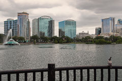 Lake Eola and Orlando skyline. A pigeon takes in the sights at Lake Eola Park in Orlando, Florida on an overcast day Royalty Free Stock Images