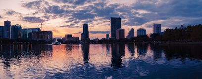 Lake Eola Panoramic. After 6:00 pm in one of the most beautiful parks in Orlando, Florida Royalty Free Stock Photo