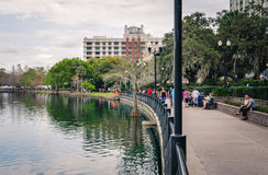 Lake Eola Park in downtown Orlando Stock Photo