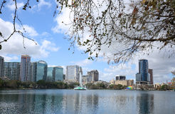 Lake Eola Park. Morning view of beautiful Lake Eola Park situated in the heart of downtown Orlando, Florida Stock Image
