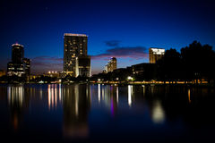 Lake Eola at Twilight. A popular location for walking and picnicking in Orlando is Lake Eola Stock Images