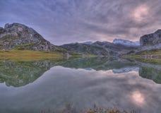 Lake Ercina. Stormy sky at Lake Ercina, Asturias, Spain Royalty Free Stock Photography
