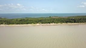 Lake Erie, beach and turbid water after storm. Aerial view. 4k. Lake Erie, Aerial view. Flying forward with drone above beach and lake after storm stock video