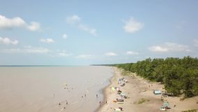 Lake Erie, beach and turbid water after storm. Aerial view. 4k. Lake Erie, Aerial view. Flying with drone above and along beach and lake after storm stock footage
