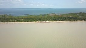 Lake Erie, beach and turbid water after storm. Aerial view. 4k. Lake Erie, Aerial view. Flying forward with drone above beach and lake after storm stock footage