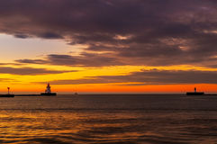 Lake Erie beacons. At the harbor entrance of Cleveland Ohio after sunset Stock Photos