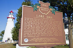 Lake Erie Historical Marker Stock Photos