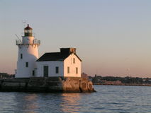Lake Erie Lighthouse. Lake Erie Light house at the mouth of the Cuyahoga river at sunset Stock Photos