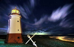 Lake Erie Lighthouse Under A Starry Sky Royalty Free Stock Photography