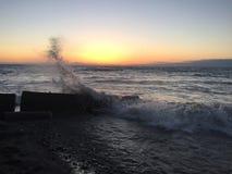 Lake Erie makes a splash. Water splashing up in Ohio stock images