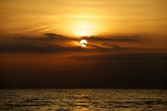 Lake Erie solnedgång Royaltyfri Bild