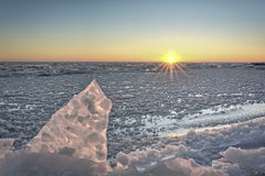 Lake Erie Sunrise in Winter Royalty Free Stock Photography