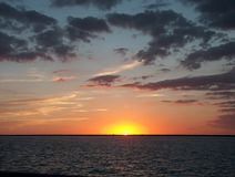 Lake Erie Sunset. A stunning sunset showing the last glimpse of light over Lake Erie stock images