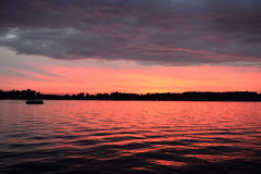 Lake Evening. Evening colors and clouds over Lake James in Angola, Indiana USA Stock Photography