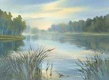 A lake in the evening light watercolor background. Water reflections