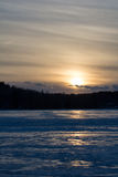 Lake in the evening when sun goes down. Royalty Free Stock Photo