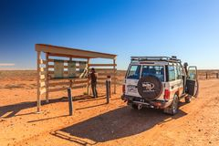 Off road driving with Toyota Land Cruiser through the Outback of South Australia royalty free stock image