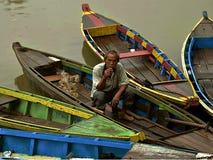 lake för kustaftonfiskare royaltyfria foton