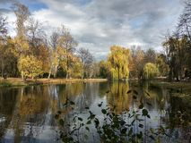 Lake in the fall. Clouds in the water. stock images