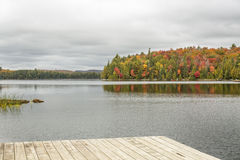 Lake with Fall Colours and Dock in the Foreground - Algonquin Pr. Lake with Colorful Sugar Maples Lining the Shore with a Wooden Dock in the Foreground royalty free stock image