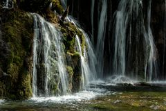 Lake and falls in Jiuzhaigou Valley, Sichuan, China. Jiuzhaigou is one of the best natural sight in the would, due to its water, mountain, trees. it is located stock photography