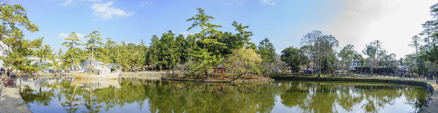 Lake in the famous and historical TodaiJi of Nara Park Stock Photos