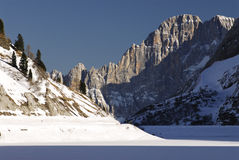 Lake Fedaia in the Dolomites, Val di Fassa Stock Photography
