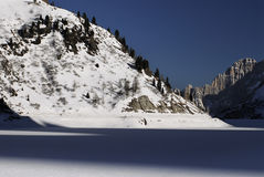 Lake Fedaia in the Dolomites, Val di Fassa Royalty Free Stock Photography