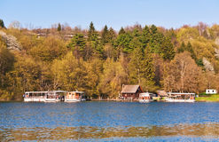 Lake ferry boats station. In Plitvice national park, Croatia Royalty Free Stock Image