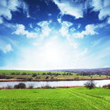 Lake in fielads Stock Photos