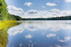 Lake in Finland. North Lake in Finland in summer Stock Photo
