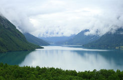 Lake between the fir mountain wood in Norway Royalty Free Stock Photography
