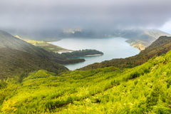 Lake of Fire Lagoa do Fogo in the crater of the volcano Pico d Royalty Free Stock Photos