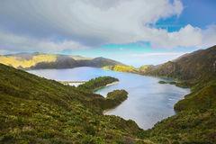 Lake of Fire Lagoa do Fogo in the crater of the volcano Pico d Stock Photo