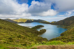 Lake of Fire Lagoa do Fogo in the crater of the volcano Pico d Royalty Free Stock Photography