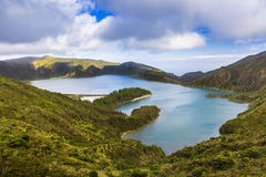 Lake of Fire Lagoa do Fogo in the crater of the volcano Pico d Stock Image