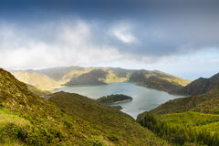 Lake of Fire Lagoa do Fogo in the crater of the volcano Pico d Stock Images