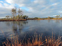 Lake with first ice in winter Stock Image