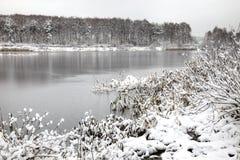Lake. First snow Stock Photos