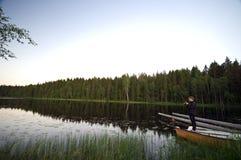 Lake fishing stock image