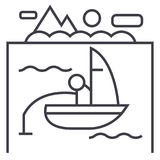Lake, fishing on boat vector line icon, sign, illustration on background, editable strokes. Lake, fishing on boat vector line icon, sign, illustration on white Royalty Free Stock Images