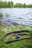 Lake fishing for eel Stock Image