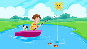 Lake Fishing, illustration. Lake Fishing, Boy and Dog on a Boat, vector illustration Stock Photos
