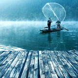 Lake and fishing people royalty free stock images