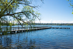 Lake with Fishing Pier. In urban park. Copy space Royalty Free Stock Photos