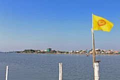 Lake and flag. At Phayao Thailand Royalty Free Stock Photos