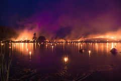Lake on flames - burning grass fire show. It`s from fire and music show in Leigo, Estonia Royalty Free Stock Images