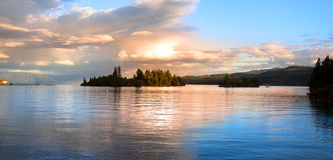 Lake Flathead. Panoramic view of Lake Flathead in evening time Royalty Free Stock Photos