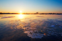 The lake and floe sunrise Royalty Free Stock Photography