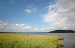 Lake, flood plain and skies. Russian North Stock Photography